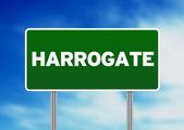 Green Road Sign - Harrogate, England — Stock Photo