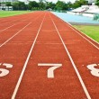 Number six  seven and eight on the start of a running track — Stock Photo