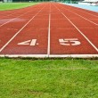 Stock Photo: Running Track With Numbered Lanes