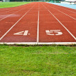 Running Track With Numbered Lanes — Stock Photo