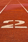 Number two on the start of a running track — Stock Photo