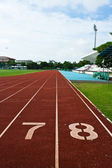 Number seven and eight on the start of a running track — Stock Photo