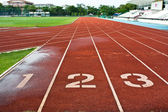 Number one two and three on the start of a running track — Stock Photo