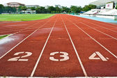 Number two three and four on the start of a running track — Stock Photo