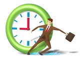 Rushing executive skid and reach on time — Stock Photo