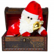 Toy santa klaus in an antiquarian chest — Foto Stock