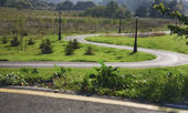 Bicycle road with hairpin bend in the park — Stock fotografie
