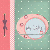 Baby girl greeting card. — Stock Vector