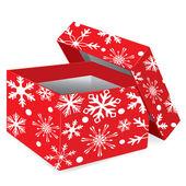De doos van de rode gift van kerstmis met sneeuwvlokken — Stockvector