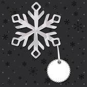 Kar taneleri ile Noel ve yılbaşı tebrik kartı — Stok Vektör