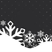 Tarjeta de felicitación de navidad y año nuevo con copos de nieve — Vector de stock