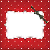 Vector greeting christmas card with frame and bow — Vecteur