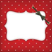 Vektor gratulationskort jul med ram och båge — Stockvektor