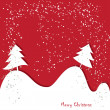 Christmas , New Year greeting traditional red card — Imagen vectorial