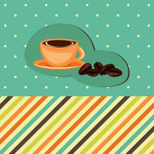 Coffee card with cup and beans — Vector de stock