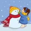 Girl with snowman — Stock Vector