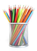Colour pencils in the basket — Stock Photo