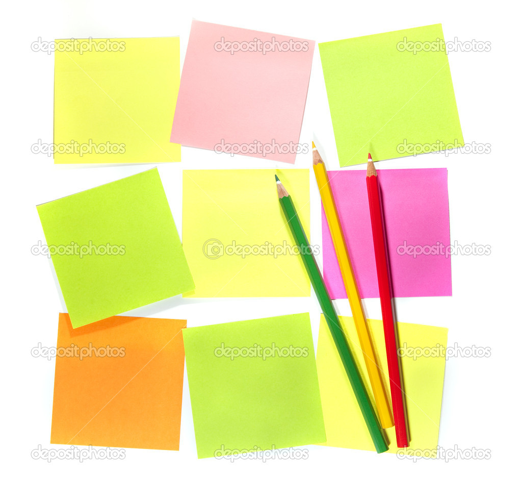 Colour pencils and postit  for reminder note on the white background — Stock Photo #7487290