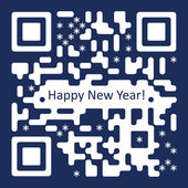 New Year Card with QR Code Illustration — Stock Vector
