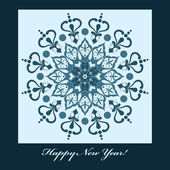 New Year Card with blue snowflake — Stock Vector