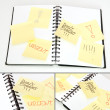 Yellow Note Sticks on Diary — Stock Photo