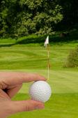 Mão com a bola de golfe — Fotografia Stock