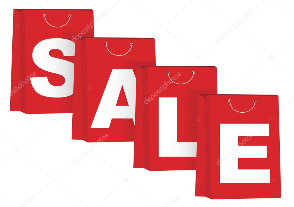 Sale Sign on Red Paper Shopping Bags - Isolated on White  Stock Vector #7683146