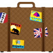 Suitcase With Stickers — Stock Vector