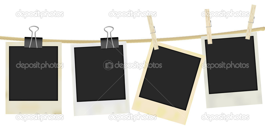 Collection of Old Retro Blank Photo Frames Hanging on Rope - Isolated on White — Stock Vector #7868441