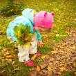 Cute child walking in autumn park — Stock Photo #7353480