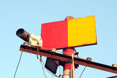 Red and yellow signs — Stock Photo