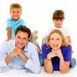 Couple with two children — Stock Photo