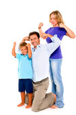 Family flexing muscles — Stock Photo