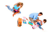 Couple playing with children — Stock Photo