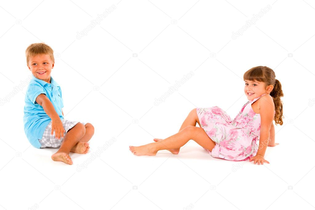 Boy and girl smiling — Stock Photo #7441666
