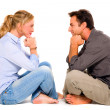 Stock Photo: Couple sitting face to face