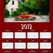 2012 Vintage Car on Red Brown Calendar — Stock Photo