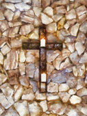 Christian Cross with Candles Oil Painting — Stock Photo