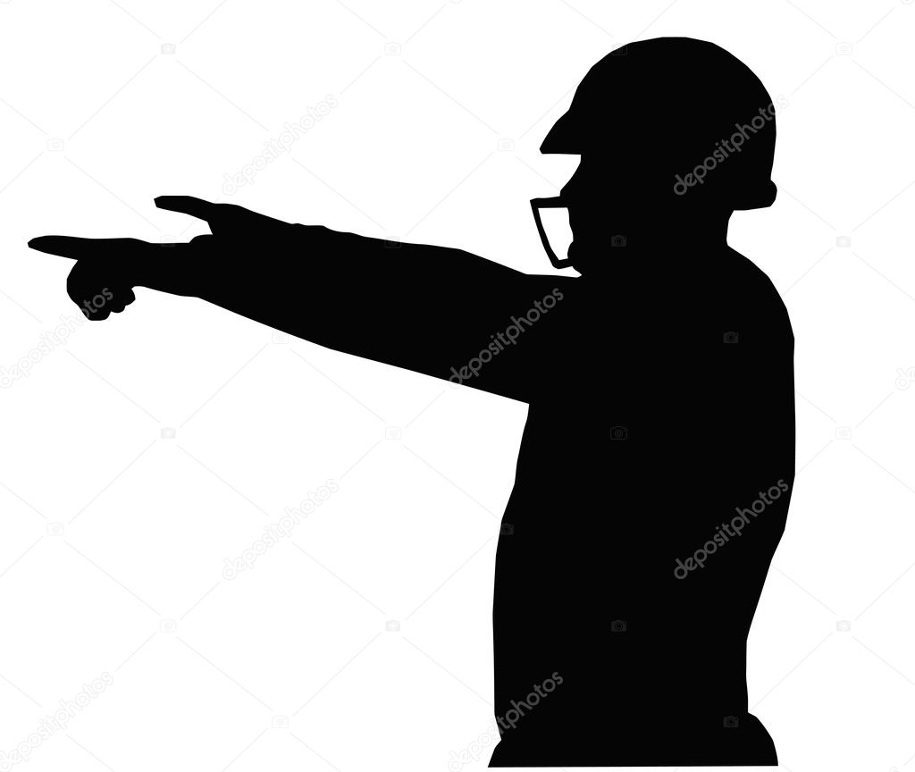 Silhouette American Football Quarterback Positioning Players on Field — Stock Vector #7520545