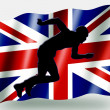 Stock Photo: Country Flag Sport Icon Silhouette UK Athletics Sprint