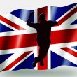 Country Flag Sport Icon Silhouette UK Cricket Bowling — Stock Photo