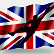 Country Flag Sport Icon Silhouette UK Cricket Catch — Stock Photo #7576442