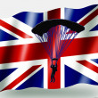 Stock Photo: Country Flag Sport Icon Silhouette UK Parachuting