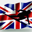 Country Flag Sport Icon Silhouette UK Ski — Stock Photo
