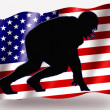 Country Flag Sport Icon Silhouette USA American Football Scrim — Stock Photo