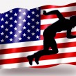 Stock Photo: Country Flag Sport Icon Silhouette USAthletics Sprint