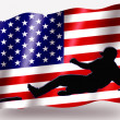 Royalty-Free Stock Photo: Country Flag Sport Icon Silhouette USA Baseball Safe