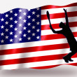 Country Flag Sport Icon Silhouette USA Tennis — Stock Photo