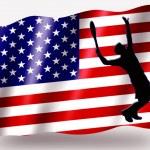Country Flag Sport Icon Silhouette USA Tennis — Stock Photo