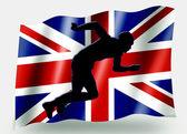 Vlag land sport pictogram silhouet uk atletiek sprint — Stockfoto